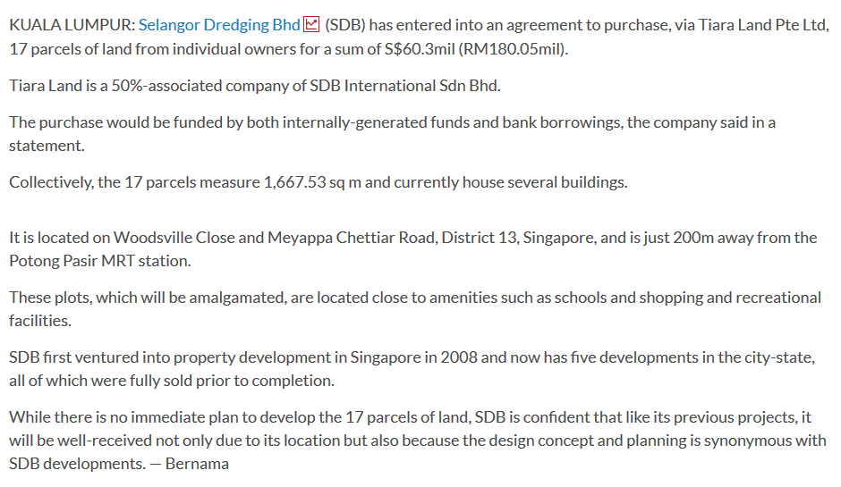 SDB buys 17 parcels of land in Singapore for RM180mil